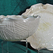 Ott & Brewer American Belleek Bowl & Plate Quilt Style