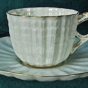 Ott & Brewer American Belleek Demitasse Cup & Saucer Lustrous Glaze