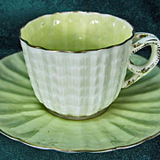 Ott & Brewer American Belleek Demitasse Cup Yellow Luster