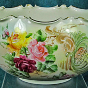 Willets Belleek Bowl Scalloped Rim and Gilded Handles