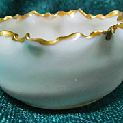 Willets 003 American Belleek Open Salt Cellar Ruffled Rim