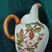 Royal Worcester Flat Back Pitcher 1094 Hand-painted Circa 1884