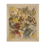 Lithograph by Ira Moskowitz  (American, 1912-2001) Hassidic Dance
