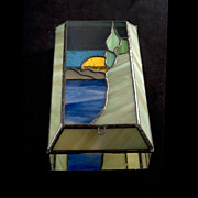 Magnificient Vintage c. 1977  J. Erickson Stained Glass Box