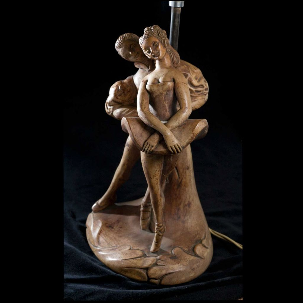 Early 20th Century Ceramic Dancers Lamp