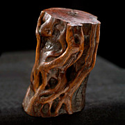 Vintage Humboldt County Carved Redwood Burl Root Pepper-Salt Shaker