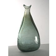 1970s Experimantal American Studio Glass Silver-Green Bottle Vase
