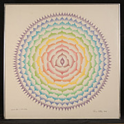 Original Vintage Rowena Pattee Kryder Pastel:  Mandala Phase II 360 Matrix Cycles (c.1979)