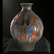 Magnificient Mid-Century  Studio Vase Incised Polychrome Geometric Design
