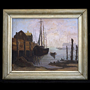 S. Reinhold Oil Painting Harbor Scene