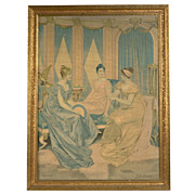 Vintage 1930�s Lithograph on Canvas by Frederic Soulacroix (Italian,1858-1933)