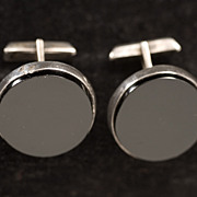 """Golden Era"" Mid Century Signed Mexican Silver and Jet Cufflinks"