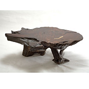 Massive Vintage 1970s Old-growth Redwood Burl Table