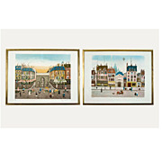 Pair of Paris Street Scene  vintage 1960s-70s lithographs by Eugene Valentin