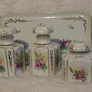 SALE Lefton Dresser Vanity Set with Tray and 3  Bottles China with Pink Roses