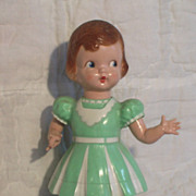 SALE Vintage 1940's or 50's Wind-Up Roller Skating Hard Plastic Doll