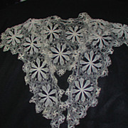 Vintage Victorian Lace Collar Ecru Floral Fine Thread Work
