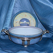 Royal Rochester Fraunfelter Lusterware Cobalt Dish with Lid and Metal Stand