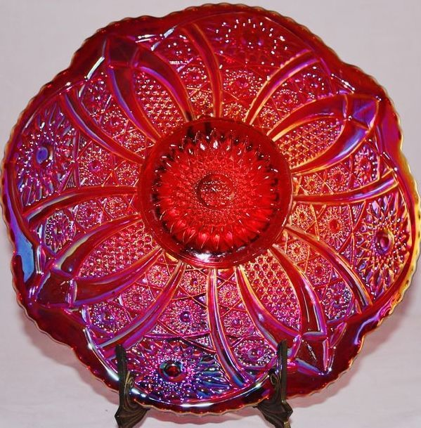 Vintage Remake Ruby Amberina Carnival Glass Plate or Serving Plate