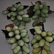 SALE Vintage 2pc. Large Jade Grape Clusters