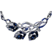 Trifari Crown Silver Tone Blue & Clear Rhinestone Necklace Choker Ca. 1950's