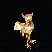 Vintage Goldtone Coro Glitter Bird Brooch Pin