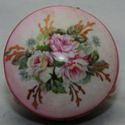 Vintage Royal Crown Japan Footed Pink Gold Floral round Trinket Box