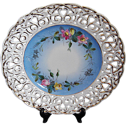 REDUCED Carl Tielsch CT Bavaria Reticulated Blue and Floral Decor Dish