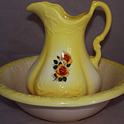 SALE Ironstone Star Large Water Basin & Pitcher Set Yellow With Roses
