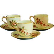 REDUCED Vintage 3pc. Hand Painted Nippon Demitasse Cup & Saucer Sets