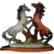 REDUCED Italian Porcelain Sculpture of Two Horses In Rearing Form by Dear Artistiche of Italy
