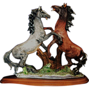 Porcelain Sculpture of Two Horses In Rearing Form by Dear Artistiche of Italy