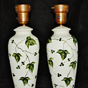 REDUCED Vintage Porcelain & Brass signed by George Table Lamps Ivy & Berries