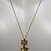 SALE 10K Yellow Diamond Cut Gold Two Tier Flower Necklace