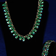 SALE Vintage Trifari Crown Emerald Aurora (AB) Necklace & Bracelet Set