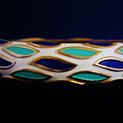 Vintage Trifari Crown Hinged Clamper Bracelet with Raised Enamel