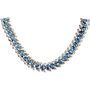 SALE Vintage Trifari Silver Tone & Blue AB Leaf Fern Link Necklace