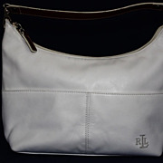 Ralph Lauren White Faux Leather Handbag Purse