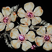 REDUCED Vintage Lisner White Dogwood Floral and Pink Rhinestone Brooch
