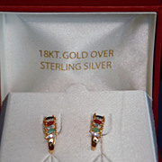 Vermeil 18kt Gold over Sterling Silver 925 Multi-Stone Earrings