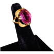 Vintage 18KT HGE Gold Electroplate  Art Deco Style Amethyst Glass Ring