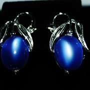 Vintage Lisner Silvertone and Blue Moonstone Earrings