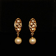 REDUCED Vtg Vendome Pat. Gold & Silver Tone Clear Rhinestone and Faux Pearl Earrings