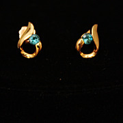 REDUCED 14K Gold Over Sterling Silver Vermeil Aqua Rhinestone Pierced Earrings