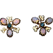 REDUCED Vintage 14K Gold Plate Opal, Blue, Clear Rhinestone Screwback Earrings
