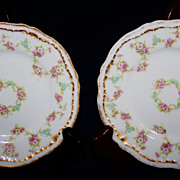 REDUCED Two Vintage Theodore Haviland Limoges Patent Applied Floral Dessert Dishes