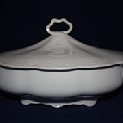 SALE Vtg Embossed Hutschenreuther Lidded & Footed Tureen Bavaria (all White) Racine Pattern