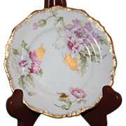 REDUCED Vintage A. Lanternier Limoge France Pink & Gold Floral Bread Dish