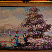 Vintage Giltwood framed Oil Painting signed by W. Rosemary