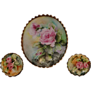 REDUCED Vintage Victorian Style Handpainted Porcelain Brooch Pin and Earring Set